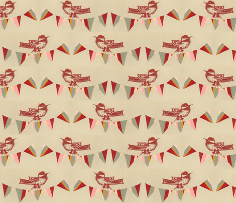 Happy Bird Day - Red fabric by owlandchickadee on Spoonflower - custom fabric