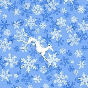 Blue Snowflakes / White Greyhounds ©2013 by Jane Walker