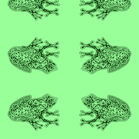 FroggyWentA-Courtin' - med - deep fir & mint green fabric by celttangler on Spoonflower - custom fabric