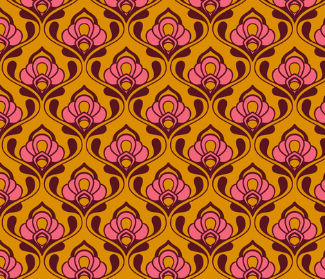 A Mod Nod to Nouveau: Warm Sugar fabric by nadiahassan on Spoonflower - custom fabric
