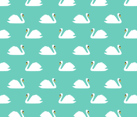 Swan Lake Aqua fabric by maydesigns on Spoonflower - custom fabric