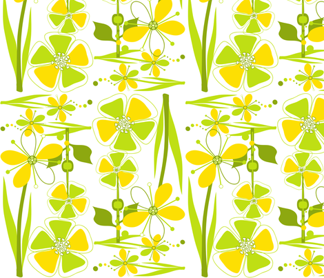 ModFlowersSunshine & Lime fabric by linda_santell on Spoonflower - custom fabric