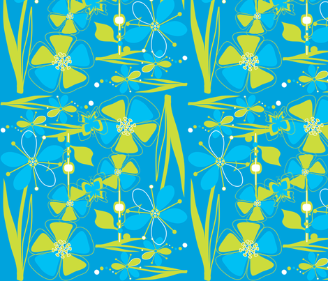 ModFlowers Chartreuse & Cyan fabric by linda_santell on Spoonflower - custom fabric