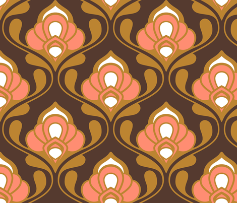 A Mod Nod to Nouveau: Warm Spice fabric by nadiahassan on Spoonflower - custom fabric