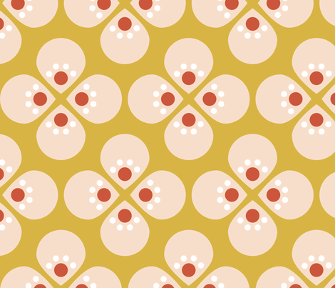 Mod Cherry Mustard fabric by mrshervi on Spoonflower - custom fabric