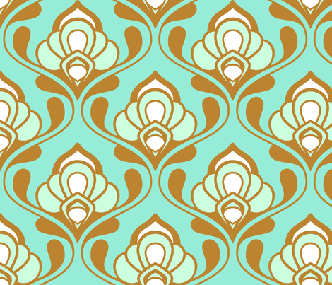 A Mod Nod to Nouveau: Aqua Bliss fabric by nadiahassan on Spoonflower - custom fabric
