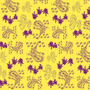 paisley & birds - yellow & purple