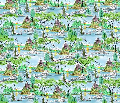 Castle Island Swan fabric by vinpauld on Spoonflower - custom fabric