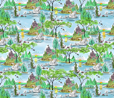 Castle Island Swan 15 inch fabric by vinpauld on Spoonflower - custom fabric