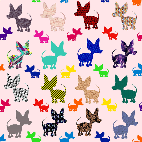 Colorful Chihuahuas on Parade (pink) fabric by amy_g on Spoonflower - custom fabric
