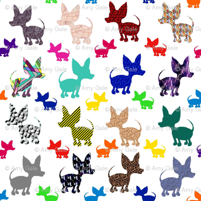 Colorful Chihuahuas on Parade (white)