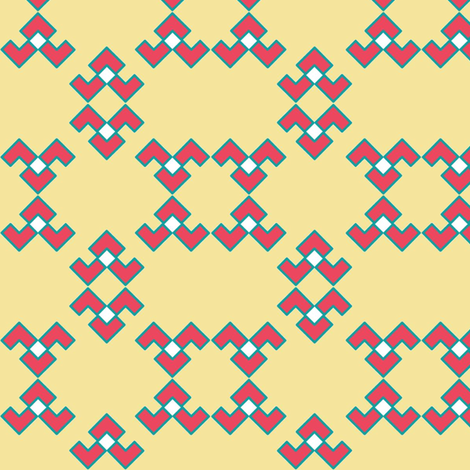 Chevron_Broken_U_Summer_Coral__Turquoise__and_Beige fabric by cherrychuckle on Spoonflower - custom fabric