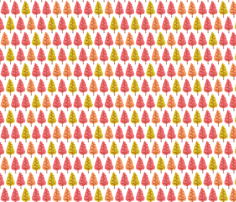 trees - pink, peach, lime fabric by laura_the_drawer on Spoonflower - custom fabric