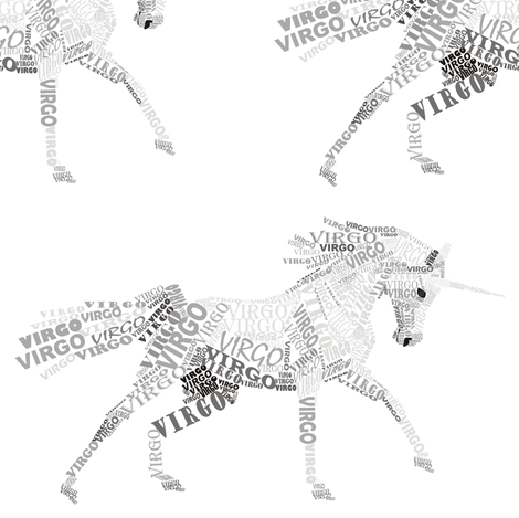 Virgo the Virginal Unicorn Snow fabric by smuk on Spoonflower - custom fabric