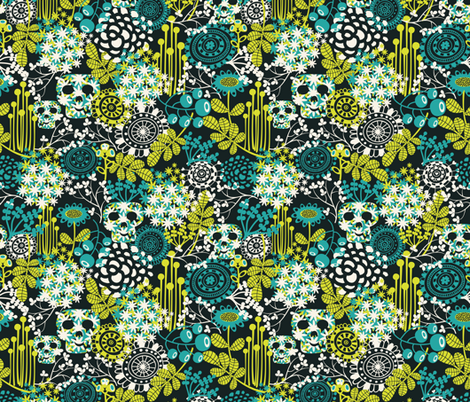 Skull flowers. fabric by panova on Spoonflower - custom fabric