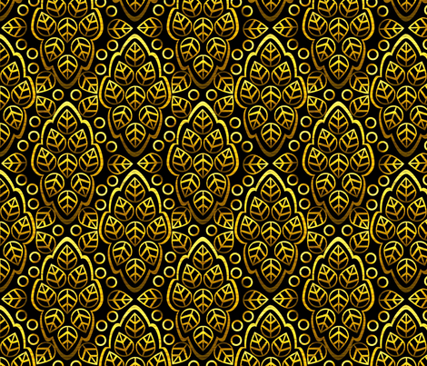 LEAFY LINES gold on black fabric by glimmericks on Spoonflower - custom fabric