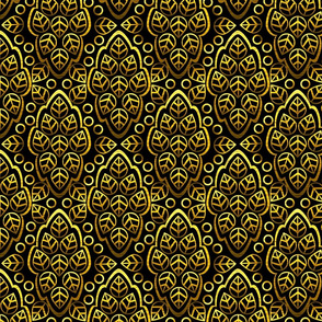 LEAFY LINES gold on black