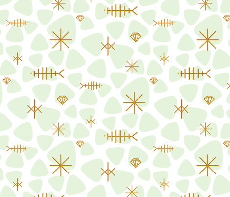 copper fish mobile on mint fabric by ravynka on Spoonflower - custom fabric