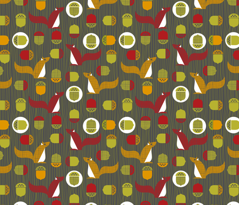 Mod squirrel fabric by cjldesigns on Spoonflower - custom fabric