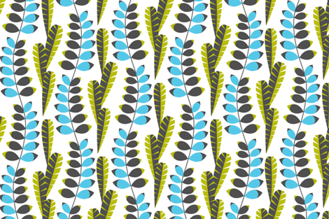 Mod foliage blue fabric by cjldesigns on Spoonflower - custom fabric