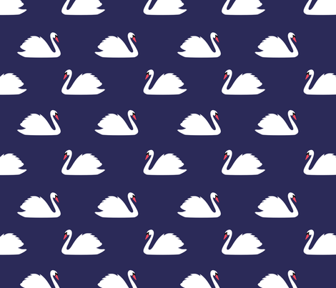 Swan Lake Navy fabric by maydesigns on Spoonflower - custom fabric