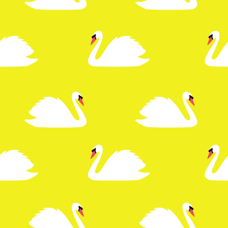 Swan Lake Yellow fabric by maydesigns on Spoonflower - custom fabric