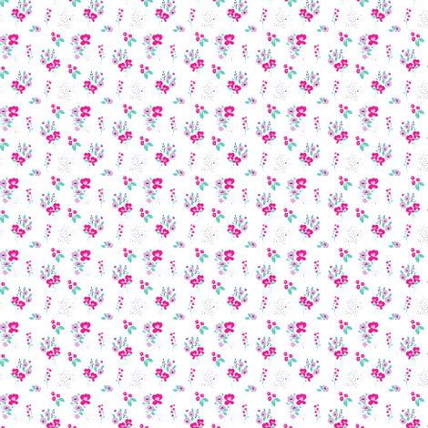 Wildflower Pink & Aqua fabric by maydesigns on Spoonflower - custom fabric