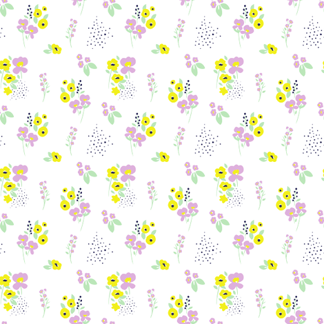 Wildflower Orchid & Yellow fabric by maydesigns on Spoonflower - custom fabric