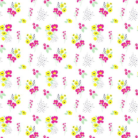 Wildflower Pink & Yellow fabric by maydesigns on Spoonflower - custom fabric