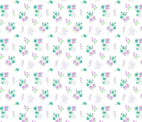Wildflower Orchid & Aqua fabric by maydesigns on Spoonflower - custom fabric
