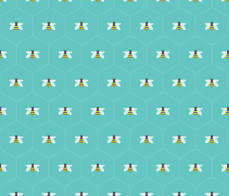 Honeycomb Aqua fabric by maydesigns on Spoonflower - custom fabric