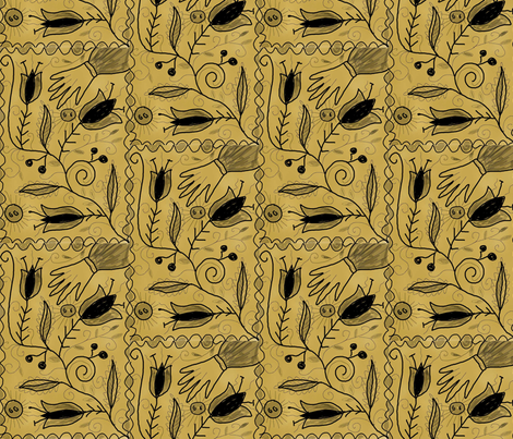Sepia_Folk fabric by notforgottenfarm on Spoonflower - custom fabric