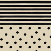 Black Dots & Stripes on Cappuccino