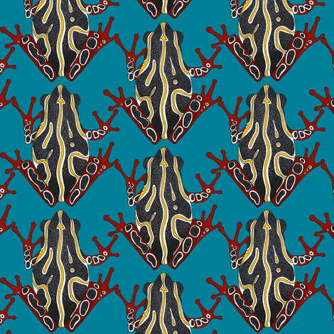 congo tree frog blue fabric by scrummy on Spoonflower - custom fabric