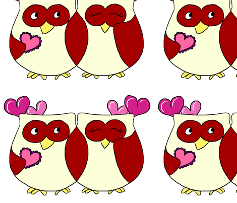 Happy Owl Love Birds  fabric by cozyreverie on Spoonflower - custom fabric