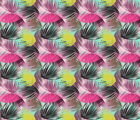 Tropical Palm Leaves - small fabric by fable_design on Spoonflower - custom fabric