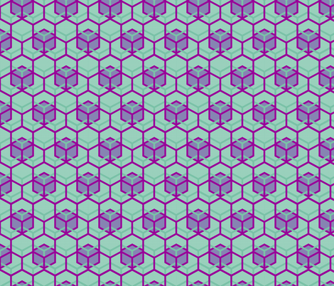 Beehive Mint Periwinkle Fandango fabric by veritymaddox on Spoonflower - custom fabric