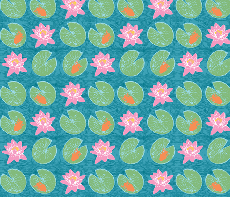 orange frog and lily   fabric by pattyryboltdesigns on Spoonflower - custom fabric