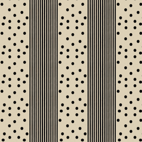 Black Dots & Stripes on Cappuccino fabric by bohobear on Spoonflower - custom fabric