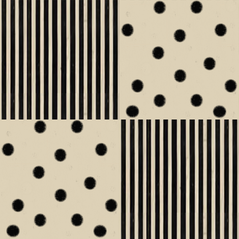 Black Dots & Stripes on Cappuccino | Cheater Quilt Blocks fabric by bohobear on Spoonflower - custom fabric