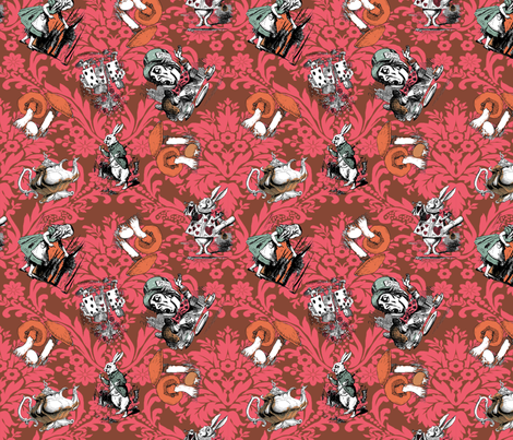 Wonderland Damask fabric by techmessiah on Spoonflower - custom fabric