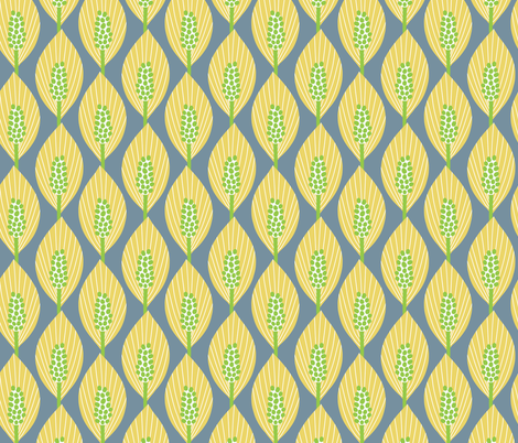 mod peace lilies (yellow, green, blue-gray) fabric by gracedesign on Spoonflower - custom fabric