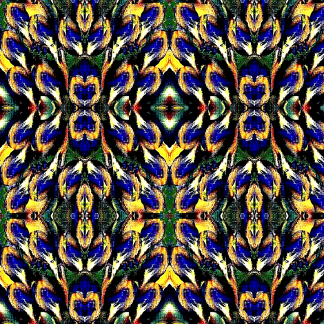 floral blue and yellow flower mofit-3 fabric by dk_designs on Spoonflower - custom fabric
