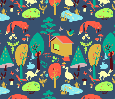 The life of forest dwellers. fabric by veraholera on Spoonflower - custom fabric