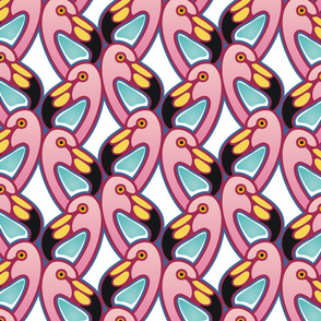 shaded flamingos