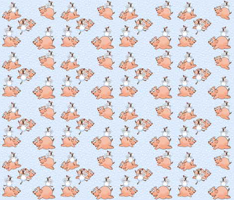 pig_and_chicken_on_blue fabric by graphicdoodles on Spoonflower - custom fabric