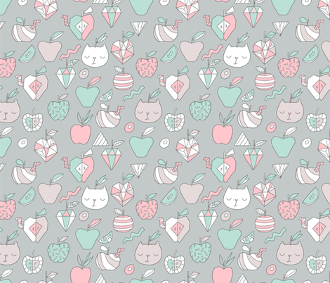 Apples and cats fabric by kostolom3000 on Spoonflower - custom fabric