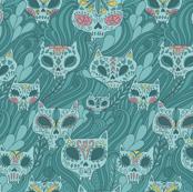 Calavera cats. Sugar skull.