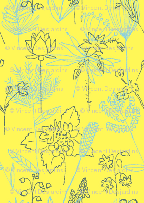 Flowers and Plants Yellow and Blue-ed