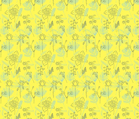 Flowers and Plants Yellow and Blue-ed fabric by vinpauld on Spoonflower - custom fabric